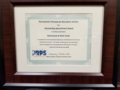 PA Recreation and Parks Society Award