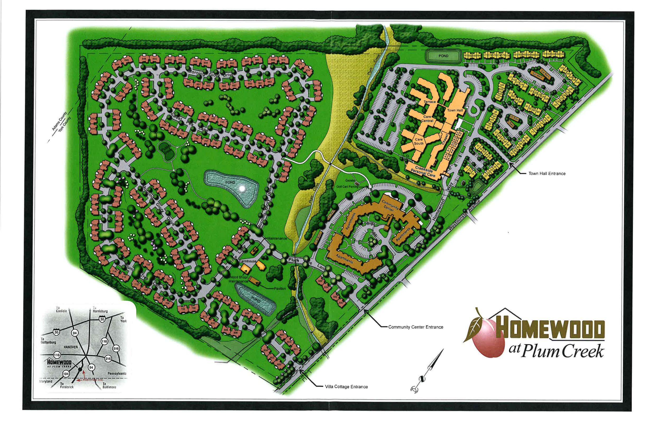 Map Of Campus Homewood At Plum Creek